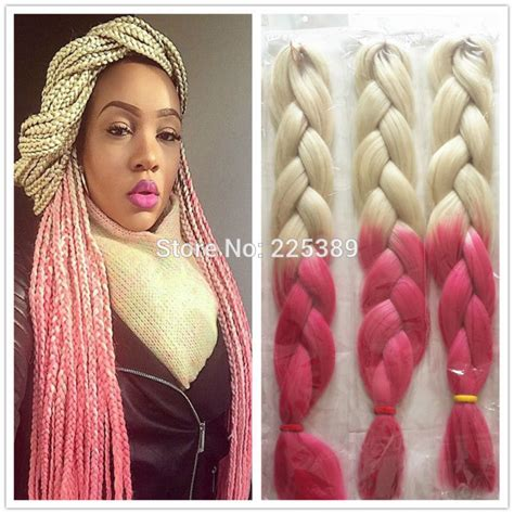 blonde pink black braids 1pcs ombre kanekalon braiding hair highlighted hair