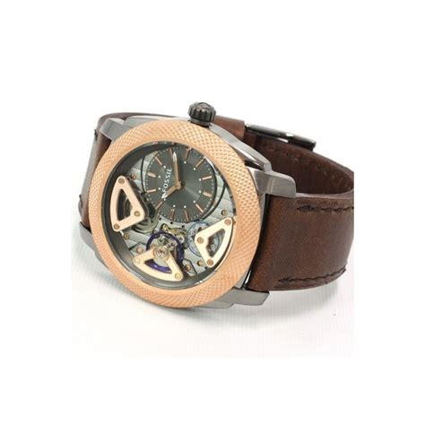Fossil Me 1122 Gold Brown fossil me1122 mechanical twist leather brown