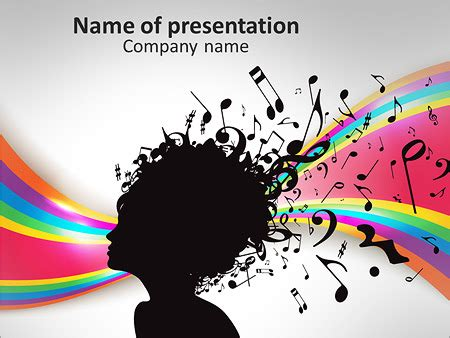 powerpoint design hair woman portrait silhouette with music notes as hair