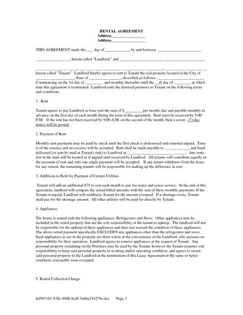 printable rental agreement template free copy rental lease agreement free rental lease