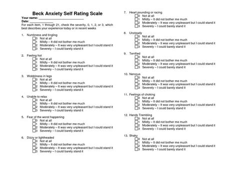 printable stress quiz for adults beck anxiety scale beck anxiety self rating scale