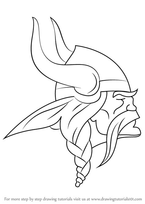 nfl vikings coloring pages learn how to draw minnesota vikings logo nfl step by
