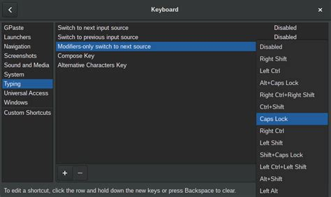 xkb layout editor gnome3 how to allow for caps lock keyboard layout change