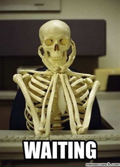Skeleton Computer Meme - waiting