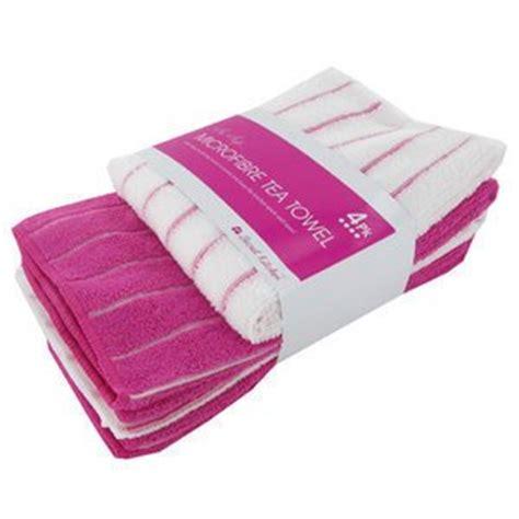 soft 4 pack of kitchen tea towel pink stripes