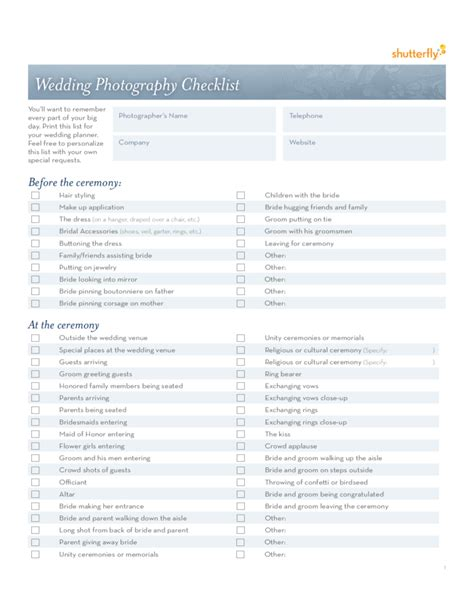 Wedding Photography Checklist by Wedding Photography Checklist Template Free
