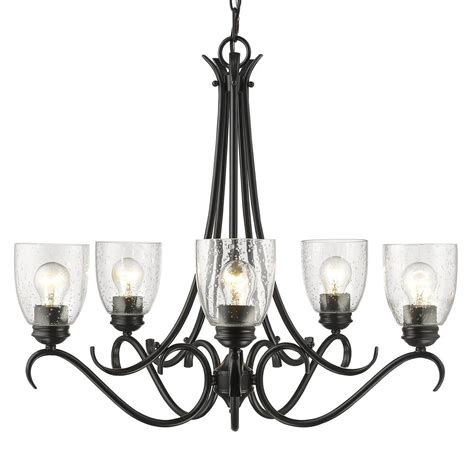Seeded Glass Chandeliers Golden Lighting Parrish 5 Light Black Chandelier With Seeded Glass Shade 8001 5 Blk Sd The