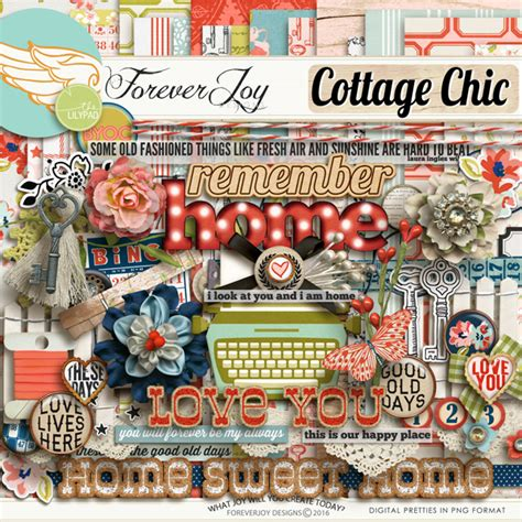 cottage chic store digital scrapbooking kit cottage chic element pack