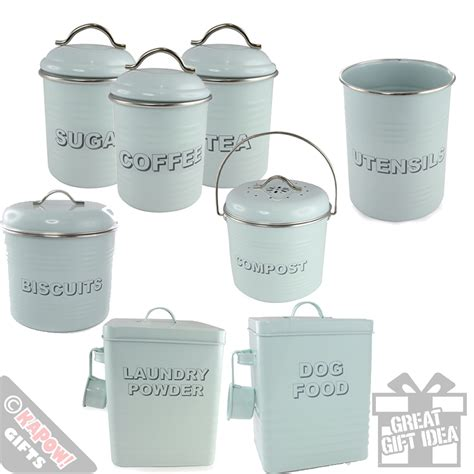 vintage style kitchen canisters kitchen storage tins country style aqua green retro cool