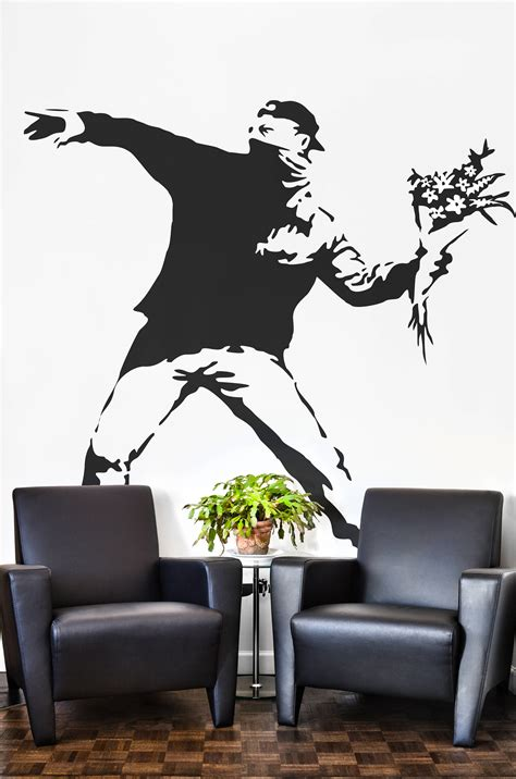 banksy  flower protester wall decal sticker banksy