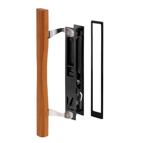 prime line sliding door handle set black diecast wood pull