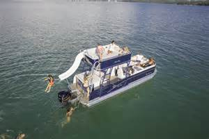 Round Ottoman With Storage by Catalina Platinum Funship Pontoon Boat Avalon Pontoon Boats