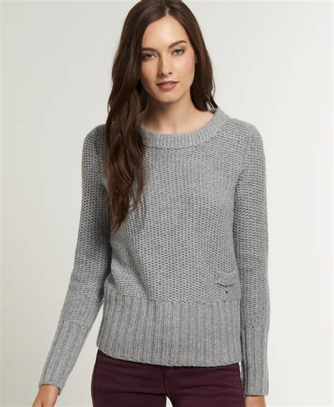Sweater Superdry New Womens Superdry Sweater Jumper Moonlight Grey