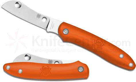 spyderco knife company spyderco c189por roadie slipjoint folder 2 09 quot n690co plain sheepsfoot blade orange frn handles