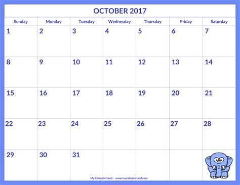 printable monthly calendar 2017 october october 2017 calendar my calendar land