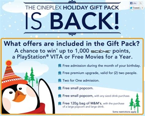 Cineplex Odeon Gift Cards - canadian daily deals cineplex odeon holiday gift pack buy 30 worth of gift cards