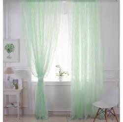 Fresh Light Green Comfortable Lace Curtain Sheer Curtain