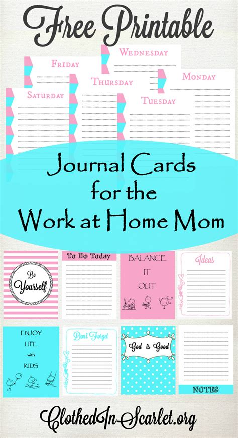 The Works Gift Card - free printable journal cards for the work at home mom