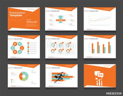 illustrator presentation templates quot orange infographic business presentation template set