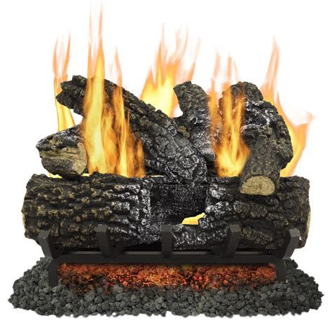 Gas Logs For Fireplace Lowes by Shop Pleasant Hearth 18 In 45 000 Btu Dual Vented Gas