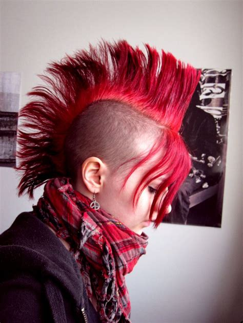 mohawk with fringe red mohawk hair pinterest