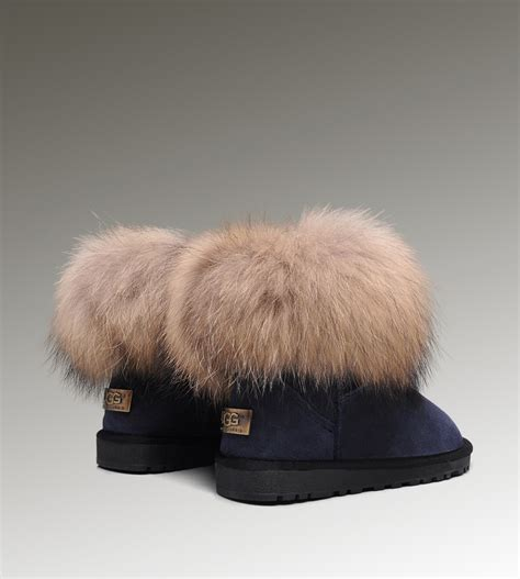 fur ugg boots ugg boots fox fur mini gray sale ugg outlet www