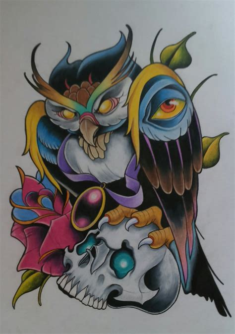 tattoo designs new school new school owl design by sallysimon67 tat it up