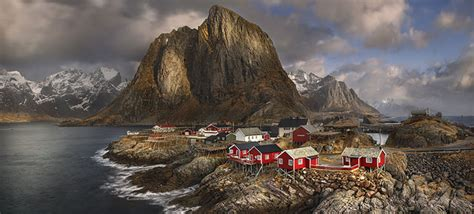 Colorfu Houses Painting norway the land of fjords trolls and vikings