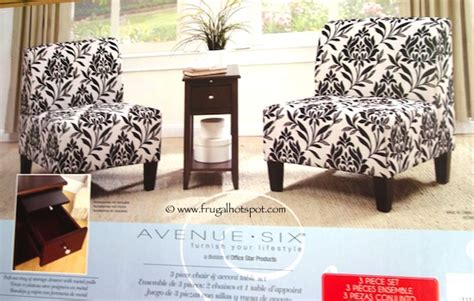 black and white accent chair costco costco avenue six 3 pc chair accent table set 249 99
