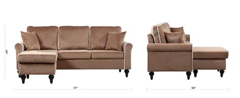velvet sectional sofa with chaise traditional small space chagne velvet sectional sofa