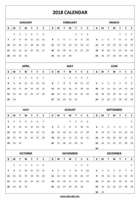2018 calendar template print blank calendar 2018