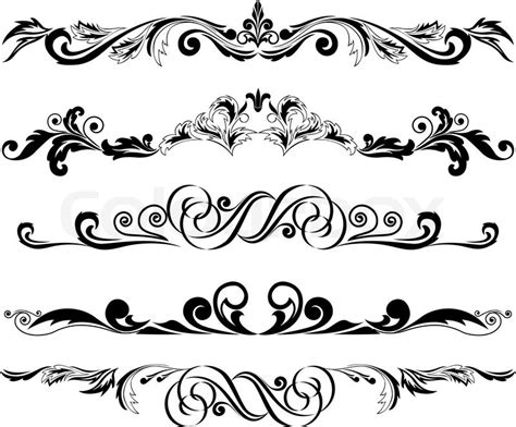 vector illustration set of decorative horizontal elements