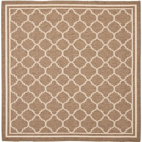 square indoor outdoor rugs safavieh courtyard brown bone 5 ft 3 in x 5 ft 3 in indoor outdoor square area rug cy6918