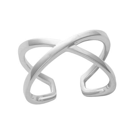 crossover adjustable sterling silver ring