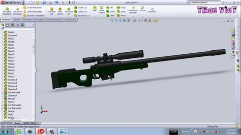 solidworks tutorial gun solidworks tutorial awm sniper rifle youtube