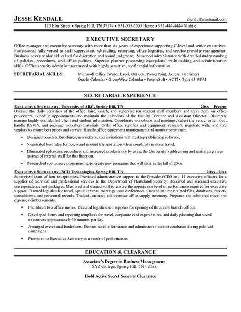 Secretarial Resume Template by Free Executive Resume Exle