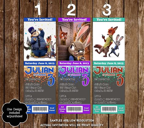 printable zootopia invitations novel concept designs zootopia movie birthday party