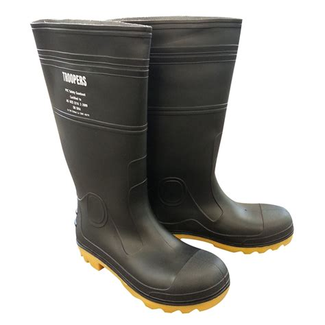 mens gum boots troopers mens gumboots safety cap size 7 black bunnings