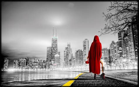 photo women city urban red riding hood