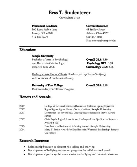 Psychology Resume Sample by Sample Cv 8 Examples In Word Pdf