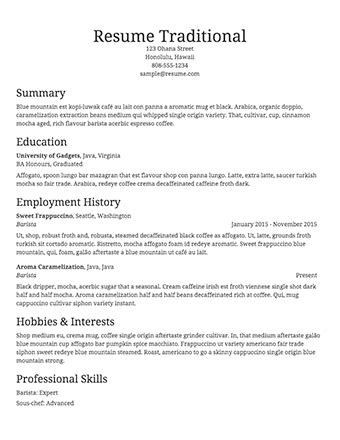 a sle template of a traditional resume
