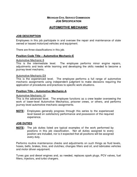 stylish mechanic job description resume resume format web