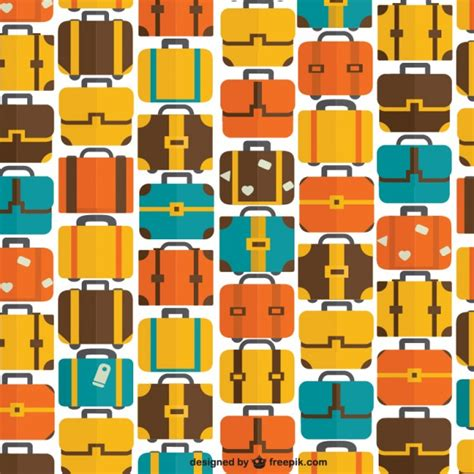 pattern travel background seamless bags and suitcase travel pattern vector free