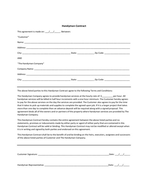 handyman contract sle free download