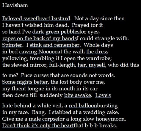 Havisham Poem Essay by Poem By Carol Duffy About Miss Havisham From Quot Great Expectations Quot Poetry And Writing