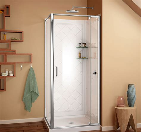 Shower Door Frame Kit Dreamline Flex 36 In W X 36 In D X 76 3 4 In H Frameless Shower Enclosure Backwall And Base