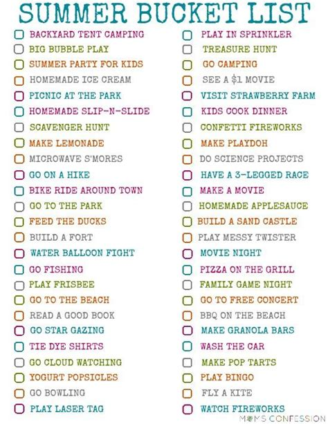 100 ideas for your families summer list
