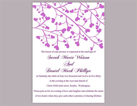 printable heart invitation diy wedding invitation template editable word file instant
