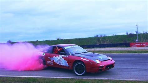 burnout colored tires florent mathieu drift s13 v8 4 4l colored smoke