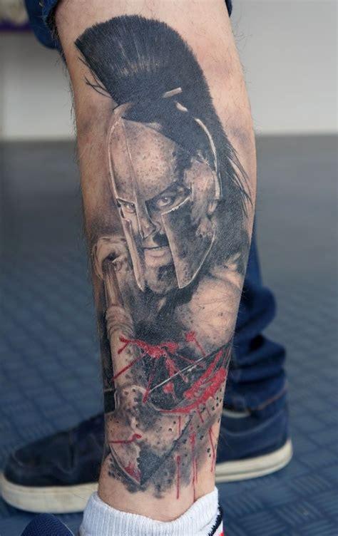 leonidas tattoo realistic horror on leg for boys cool tattoos
